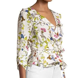 Milly Floral Silk Ruffle Wrap Top